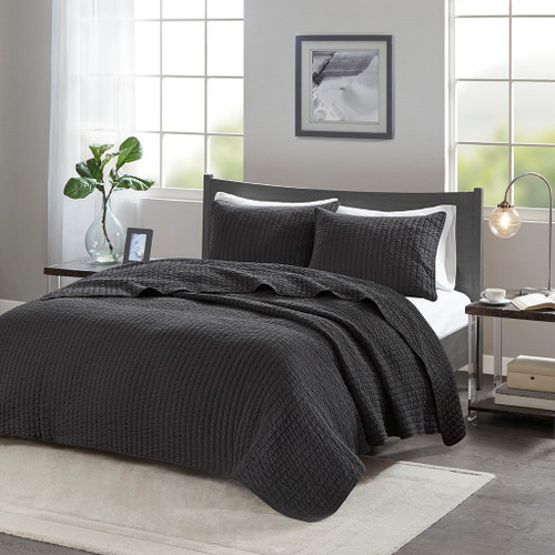Keaton Black Reversible Coverlet Set (Keaton -Black-Cov)