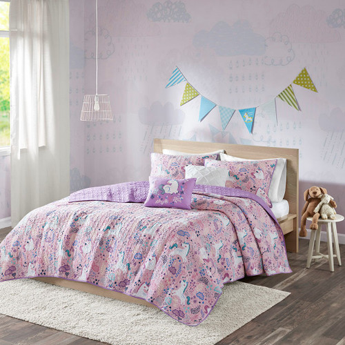 Lola Pink Cotton Reversible Coverlet Set ( Lola -Pink-Cov)