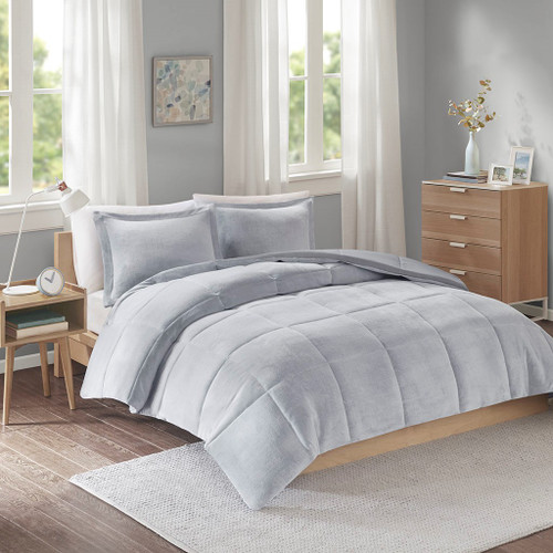 Grey Reversible Plush Microfiber Comforter AND Decorative Shams (Carson -Grey-Comf)