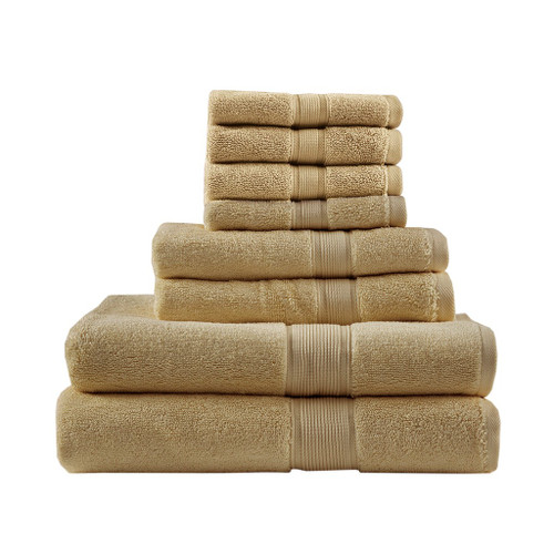 8pc Beige 800GSM Long Staple Cotton Bath Towel Set (800GSM-Beige)