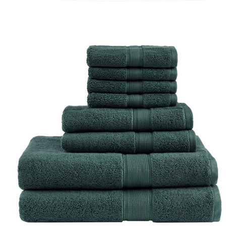 8pc Dark Green 800GSM Long Staple Cotton Bath Towel Set (800GSM-Dark Green)