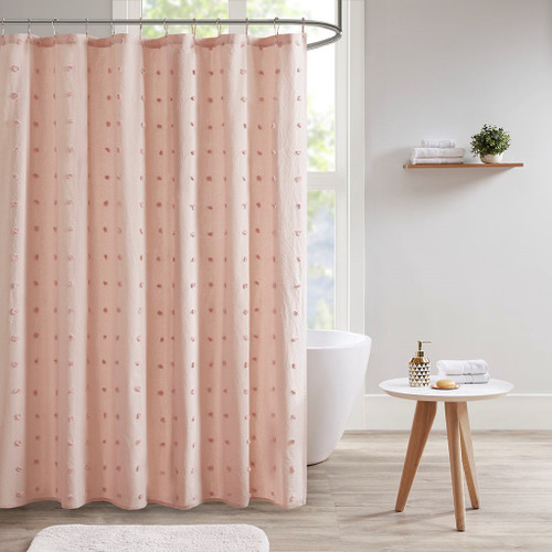 "Pink on Pink Cotton Tufts Jacquard Pom Pom Fabric Shower Curtain - 72x72"" (Brooklyn-Pink-Shower)"