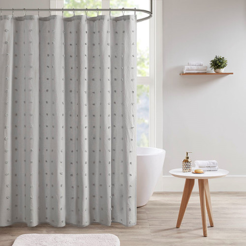 "Grey on Grey Cotton Tufts Jacquard Pom Pom Fabric Shower Curtain - 70x72"" (Brooklyn-Grey-Shower)"