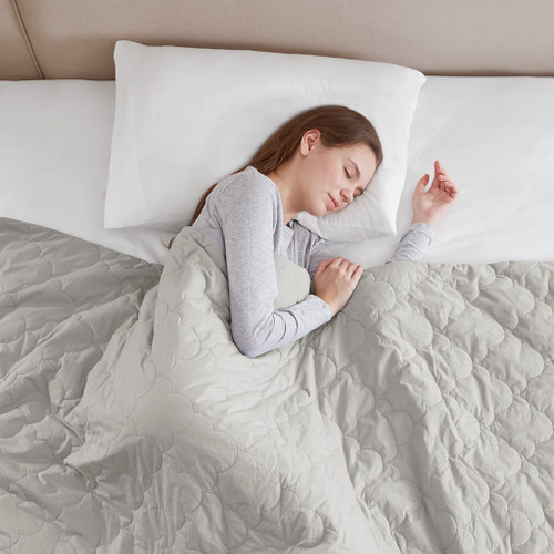 "Deluxe Quilted Grey Cotton Weighted Blanket 60x70""-12lbs (Deluxe Weighted -Grey-Blanket-12)"