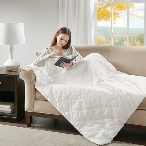 "Deluxe Quilted White Cotton Weighted Blanket 60x70""-12lbs (Deluxe Weighted -White-Blanket-12)"