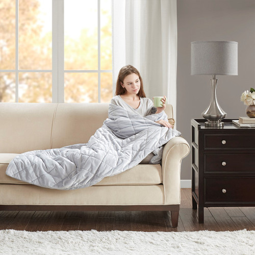 """Luxury Grey Quilted Mink Weighted Blanket 60x70""""-12lbs (Mink Weighted -Grey-Blanket-12)"""