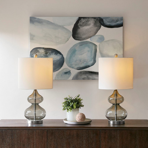 "Set of 2 Grey Glass Table Lamps w/White Drum Shape Shade - 23""H (Ellipse -Grey-Decor)"