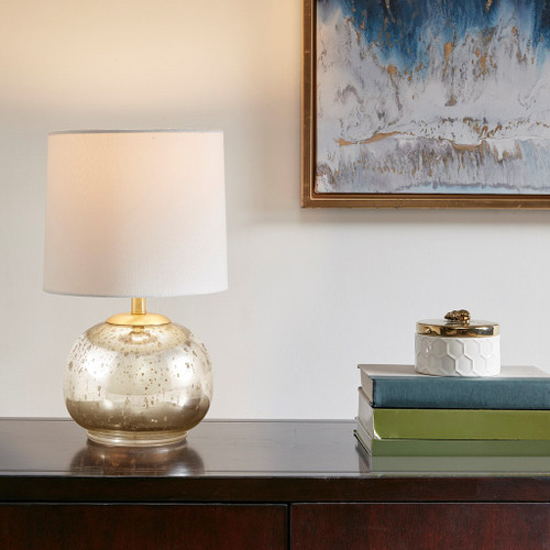 Silver & Gold Speckled Glass Base Table Lamp w/White Drum Shape Shade (Saxony-Silver-Lamp)
