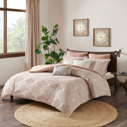 Ellipse Blush Cotton Jacquard Comforter Set (Ellipse -Blush-Comf)