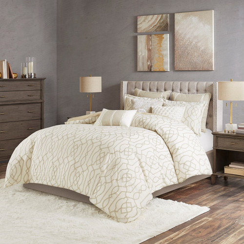 Oversized Taupe Embroidered Geometric Comforter Set AND Decorative Pillows (Clarity -Neutra-Comf)