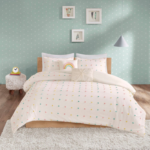 Callie Multi Cotton Jacquard Pom Pom Comforter Set (Callie Multi-Comf)