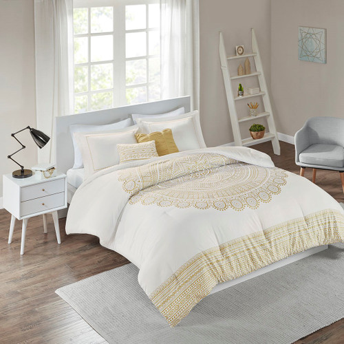 Nomad Gold Metallic Medallion Printed Comforter Set ( Nomad -Gold-Comf)