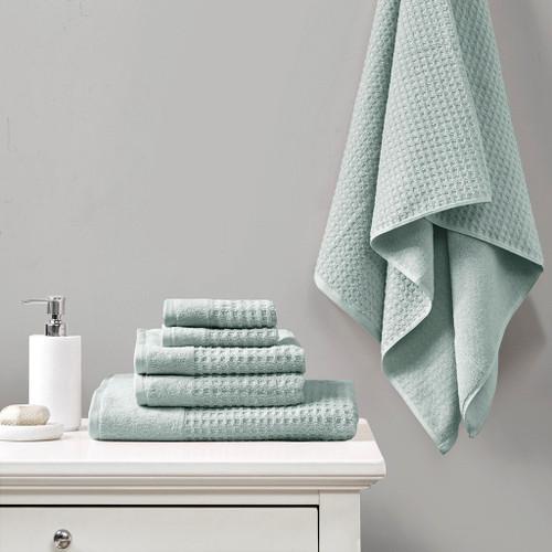 6 Piece Aqua Spa Waffle Cotton Jacquard Towels Set (6 Piece -Aqua Spa Waffle -Towels)