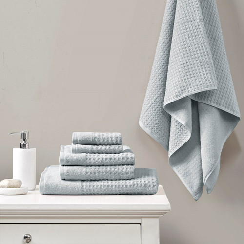 6 Piece Blue Spa Waffle Cotton Jacquard Towels Set (6 Piece -Blue Spa Waffle-Towels )