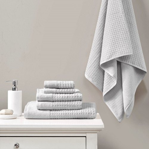6pc Solid Grey Spa Waffle Cotton Jacquard Towel Set