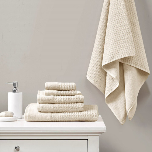 6 Piece Taupe Spa Waffle Cotton Jacquard Towels Set (6 Piece -Taupe Spa Waffle-Towels)