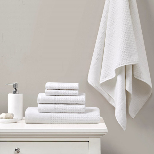 6 Piece White Spa Waffle Cotton Jacquard Towels Set (6 Piece -White Spa Waffle-Towels)