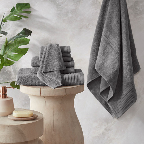 Mirage Charcoal Solid 100% Cotton 8 Piece Towel Set (Mirage -Charcoal-Towels)