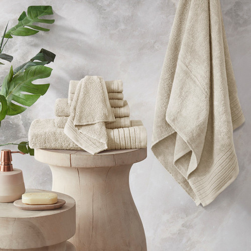 Mirage Ivory Solid 100% Cotton 8 Piece Towel Set (Mirage -Ivory-Towels)