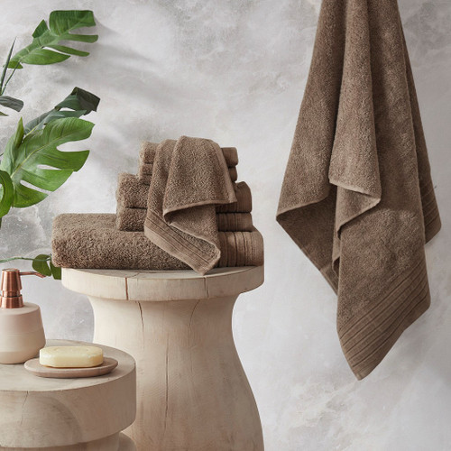 Mirage Taupe Solid 100% Cotton 8 Piece Towel Set (Mirage -Taupe-Towels)