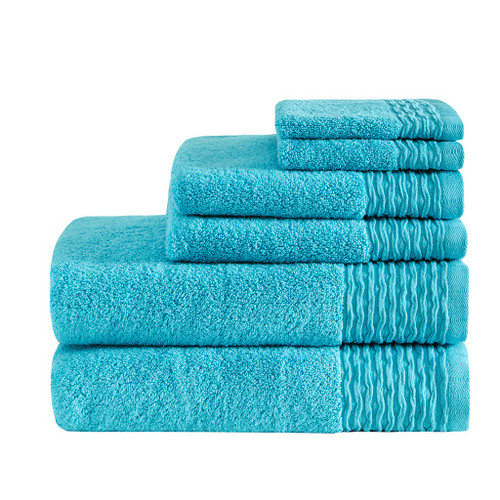 Breeze Jacquard Blue Wavy Border Zero Twist Cotton Towel Set ( Breeze Jacquard -Blue-Towels)