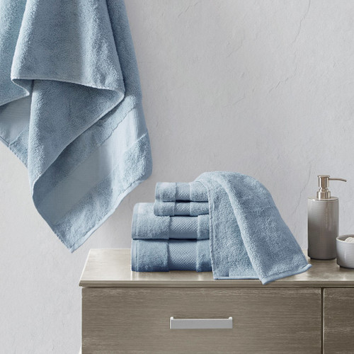 Turkish Blue 6 Piece Bath Towel Set (Turkish 6 Piece-Blue-Towels)