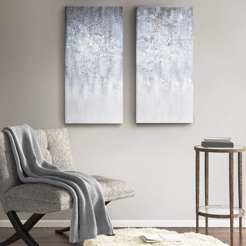 Winter Glaze Blue/White Heavy Textured Canvas with Glitter Embellishment 2 Piece Set (Winter Glaze -Blue/White-Art)