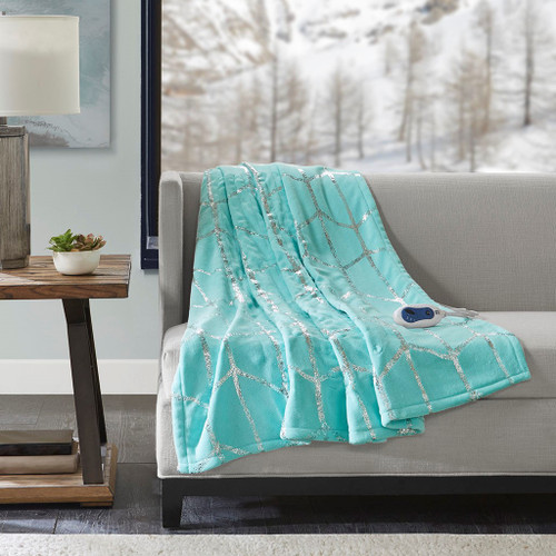 "Aqua Blue & Metallic Silver HEATED Geometric Throw Blanket - 50x60"" (Raina Heated-Aqua-throw)"