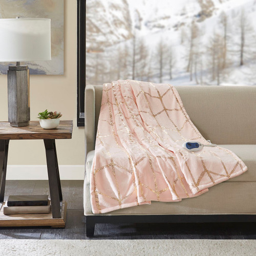 "Blush Pink & Metallic Gold HEATED Geometric Throw Blanket - 50x60"" (Raina Heated-Blush-throw)"