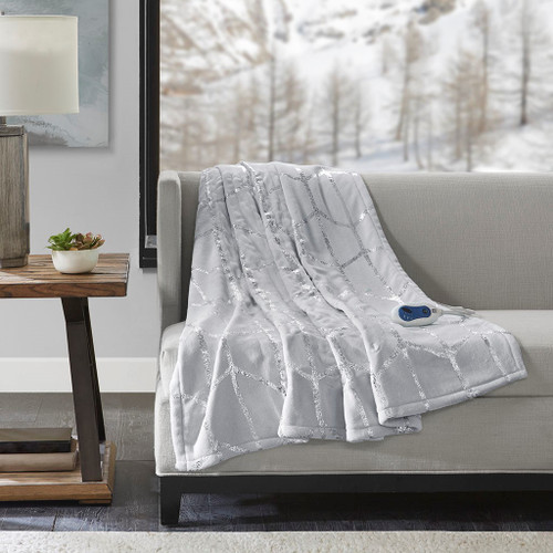 "Grey & Metallic Silver HEATED Geometric Throw Blanket - 50x60"" (Raina Heated-Grey-throw)"