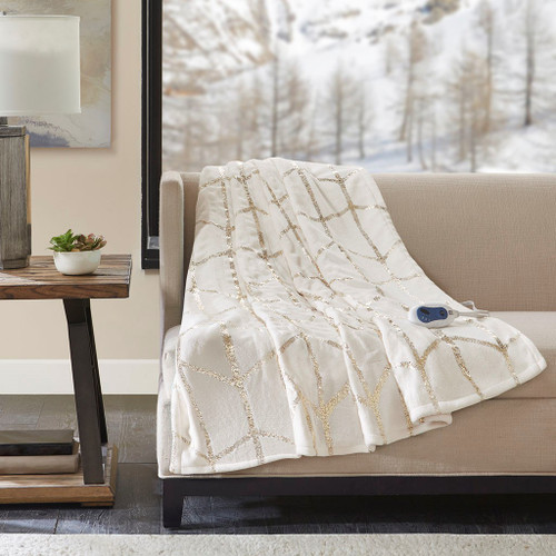 "Ivory & Metallic Gold HEATED Geometric Throw Blanket - 50x60"" (Raina Heated-ivory-throw)"