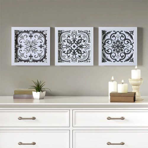 Black and White Tiles 3 Piece Deco Box Wall Art Gel Coating (Black and White Tiles-Black-Art )