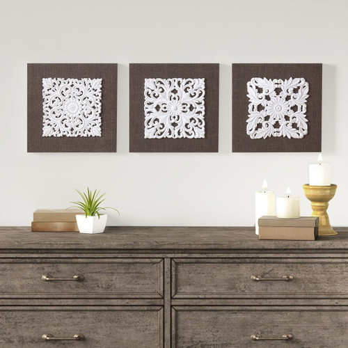 White Mandala White/Brown Trinity 3D Embellished Linen Canvas 3 Piece Wall Art (White Mandala -White/Brown-Art)