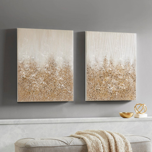 Golden Glimmer Gold 100% Hand Brush Embellished Canvas, 2 Piece Set (Golden Glimmer -Gold-Art)
