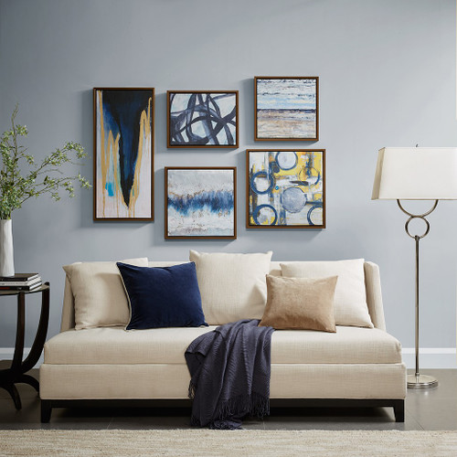 5pc Abstract Blue Grey & Yellow Bliss Gallery Framed Deco Box Wall Art (Blue Bliss-Natural-Art)