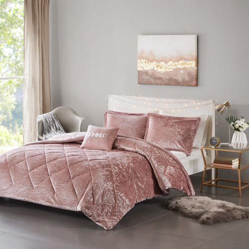 Felicia Blush Velvet Comforter Set (Felicia -Blush-Comf)