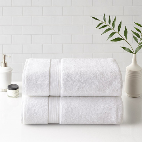 800GSM White 100% Cotton Bath Sheet 2 Piece Set (800GSM -White-Towels)