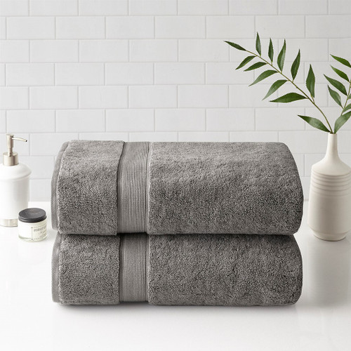 2pc Grey 800GSM Spa Long Staple Cotton Bath Sheet Towel Set (800GSM -Grey-Towels)