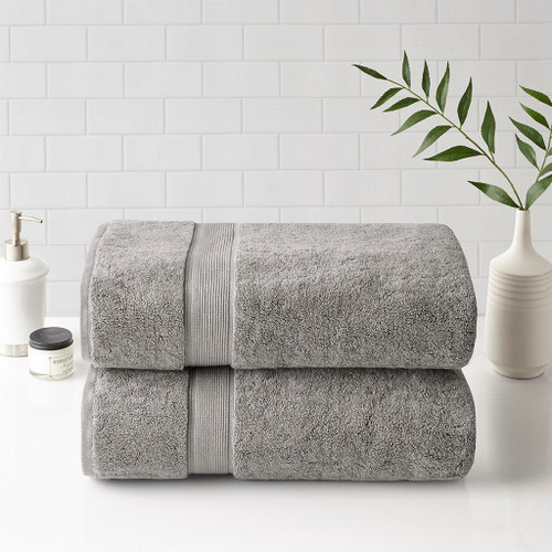 2pc Soft Grey 800GSM Spa Long Staple Cotton Bath Sheet Towel Set (800GSM -Silver/Soft Grey-Towels)