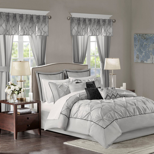 24pc Soft Grey Tufted Comforter Set, Sheets, Pillows, Curtains AND More (Joella-Grey)