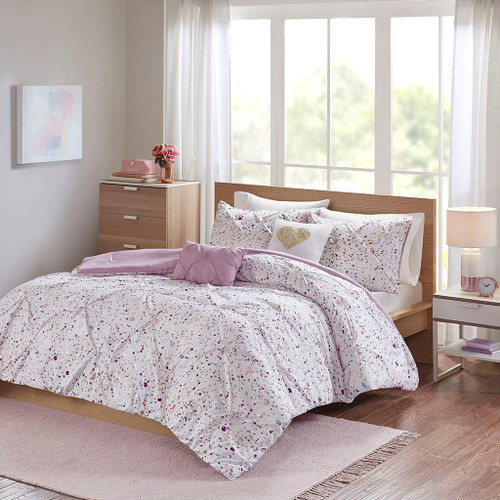 Abby Metallic Plum Printed and Pintucked Comforter (Abby Metallic-Plum-Comf)