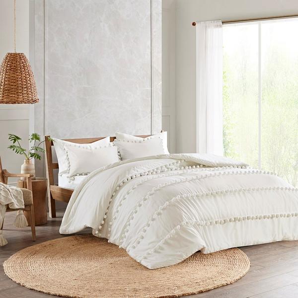 Leona Ivory 3 Piece Pom Pom Cotton Comforter Set (Leona -Ivory-Comf)