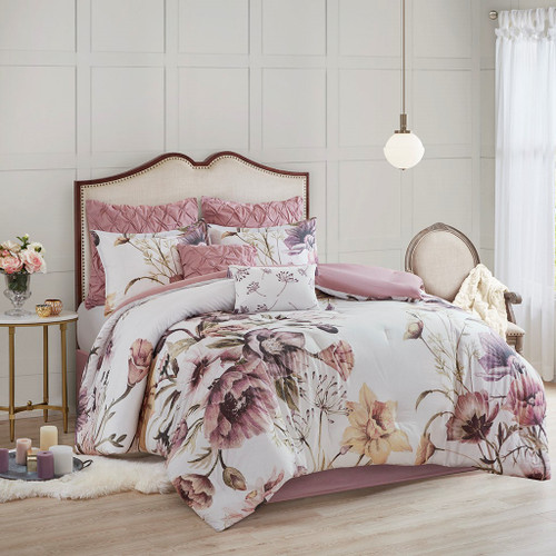 Cassandra Blush 8 Piece Cotton Printed Comforter Set (Cassandra -Blush-Comf)