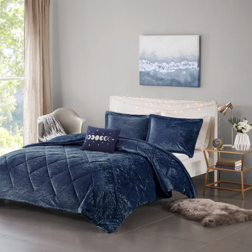Felicia Velvet Navy Comforter Set (Felicia Velvet -Navy-Comf)