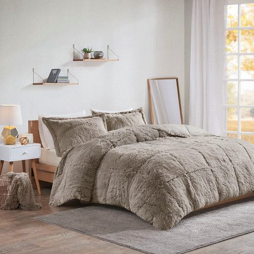 Malea Grey Shaggy Faux Fur Comforter Set (Malea -Grey-Comf)