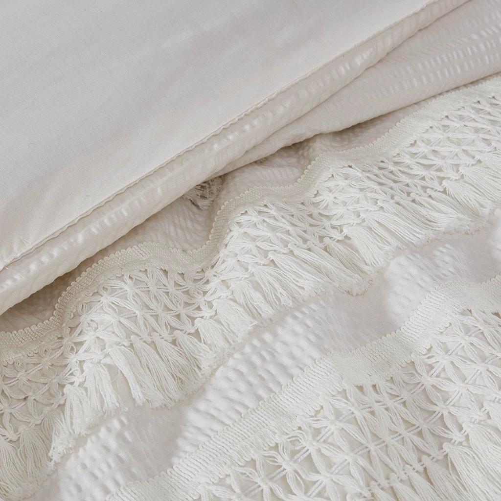 Amaya 3 Piece Ivory Cotton Seersucker Comforter Set (Amaya 3 Piece-Ivory-Comf)