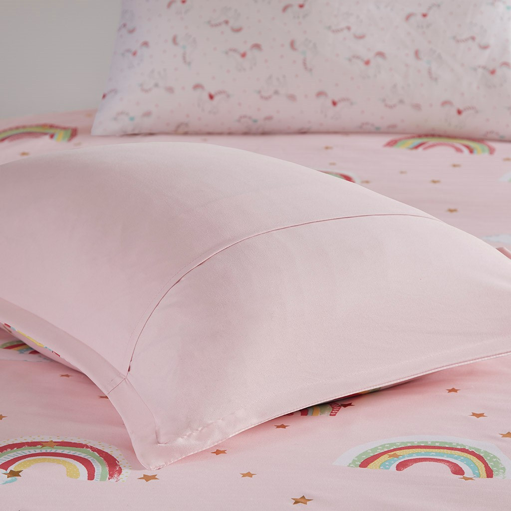 Alicia Rainbow Pink With Metallic Printed Stars Complete Bed and Sheet Set (Alicia Rainbow -Pink-Comf)