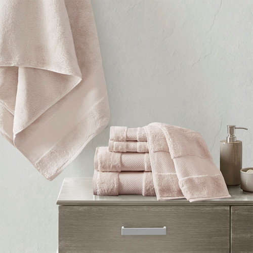 6pc Turkish Cotton Spa-Like Blush Pink Bath Towel Set (Turkish 6 Piece-Blush-Towels)
