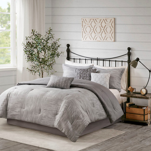 7pc Grey Seersuckle Weave Design Comforter Set AND Decorative Pillows (Walter -Grey-Comf)