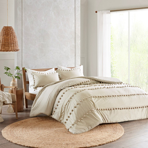 3pc Taupe Pom Pom Cotton Comforter AND Decorative Shams (Leona -Taupe-Comf)